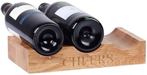 Oak Home Accessories 3 Bottle Wine Holder with Cheers Engraved