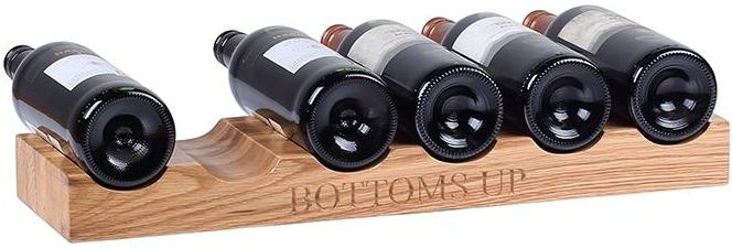 Oak Home Accessories 6 Bottle Wine Holder with Bottoms Up Engraved