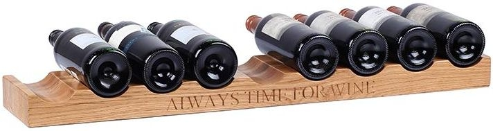 Oak Home Accessories 9 Bottle Wine Holder with Always Time For Wine Engraved