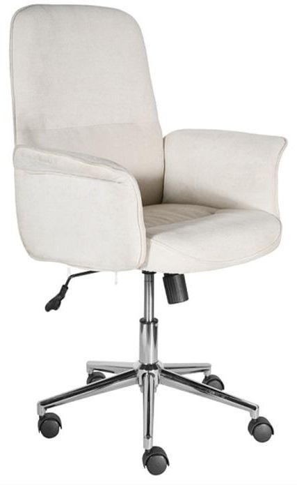 Office Chairs  Beige Luxury Padded Office Chair with Armrest and Chrome Base