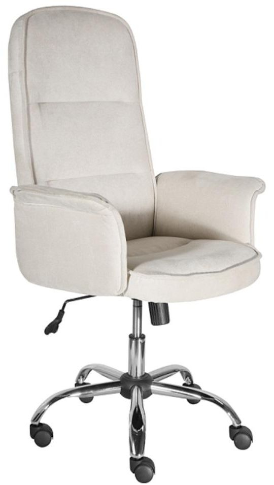 Office Chairs Beige Padded Office Chair with Armrest and Chrome Base