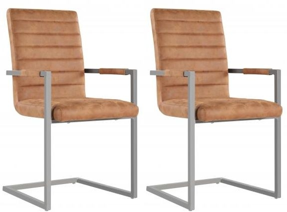 Oslo Brown Leather Industrial Dining Chair (Pair)