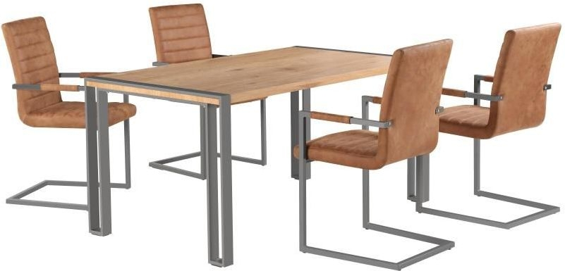 Oslo Industrial Dining Table and 4 Brown Leather Chairs