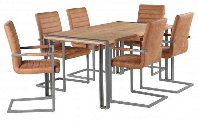 Oslo Industrial Dining Table and 6 Brown Leather Chairs