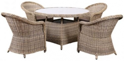 Outdoor Wicker and Rattan Dining Set with 4 Chairs