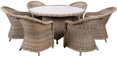 Outdoor Wicker and Rattan Dining Set with 6 Chairs