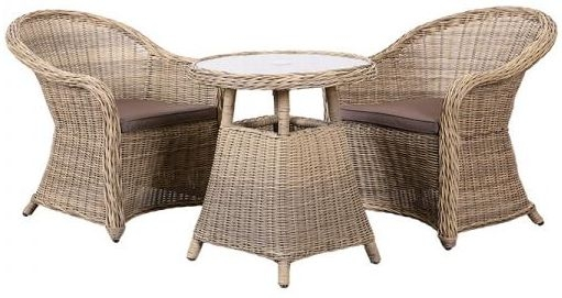 Outdoor Wicker and Rattan Dining Set with 2 Chairs