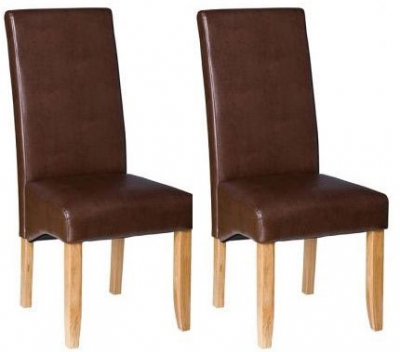Padded Chairs Oak Dining Chair with Chocolate Faux Leather (Pair)
