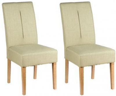 Padded Chairs Oak Dining Chair with Green Fabric (Pair)