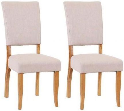 Padded Chairs Oak Chair with Beige Colour (Pair)