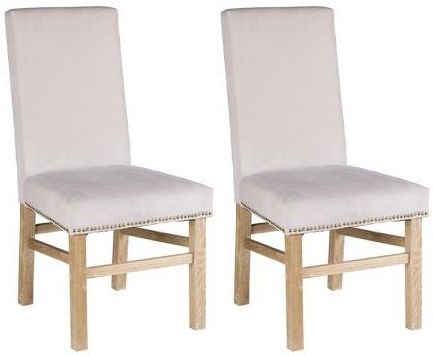 Padded Chairs Oak Dining Chair with Light Grey Fabric (Pair)