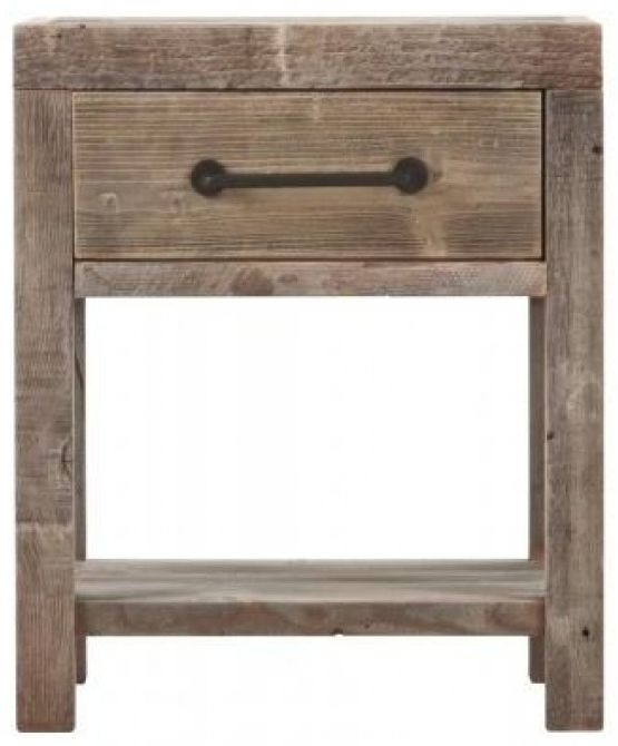 Reclaimed Wood 1 Drawer Bedside Table
