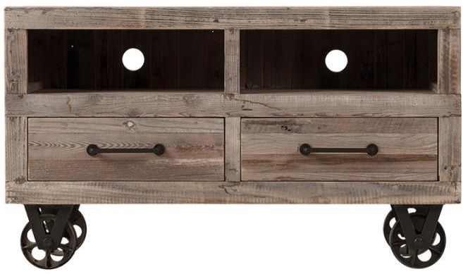 Reclaimed Wood and Metal 2 Drawer TV Unit with Wheels