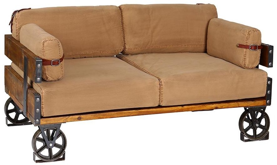 Recycled Denim Two Seater Sofa - Khaki