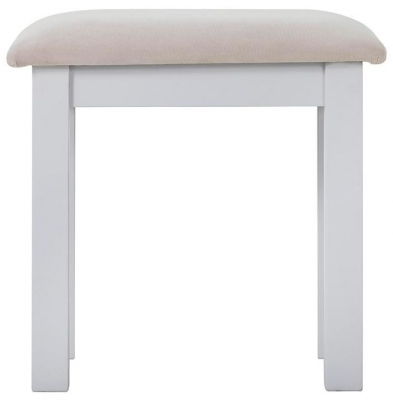 Rosa Painted Dressing Stool with Plush Platinum Fabric Seat