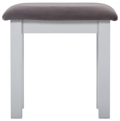 Rosa Painted Dressing Stool with Plush Slate Fabric Seat