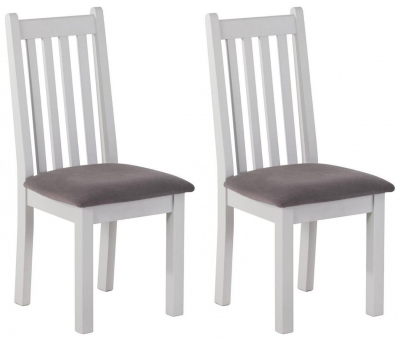 Rosa Painted Slatted Dining Chair with Plush Mole Fabric Seat (Pair)