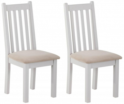 Rosa Painted Slatted Dining Chair with Plush Platinum Fabric Seat (Pair)