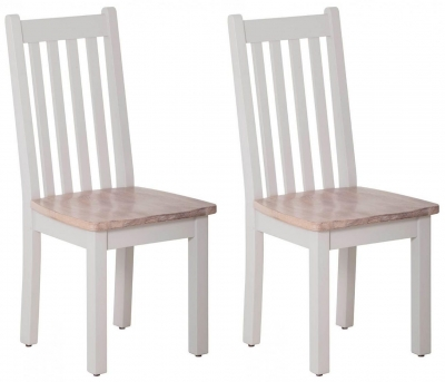 Rosa Painted Slatted Dining Chair with Timber Seat (Pair)