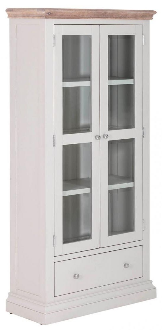 Rosa Painted 2 Door 1 Drawer Glazed Display Cabinet