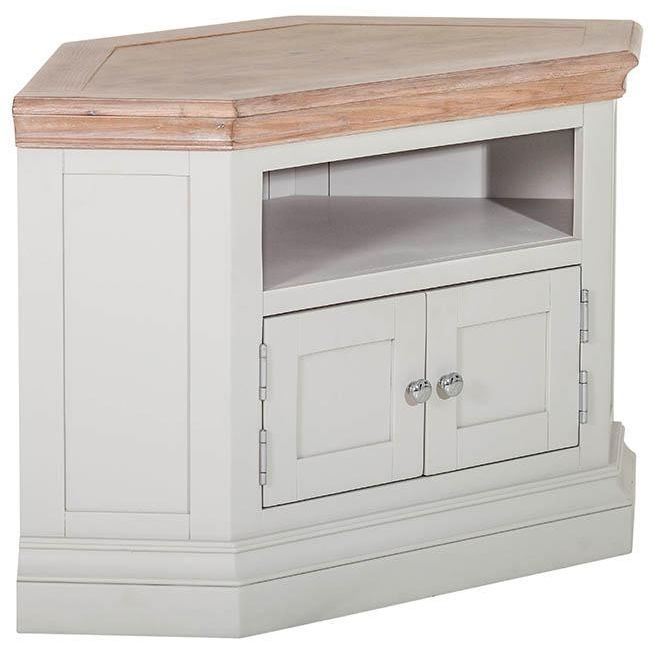 Rosa Painted TV Unit - Corner 2 Door 2 Shelves