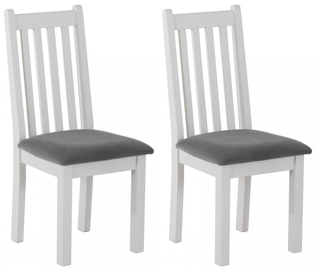 Rosa Painted Slatted Dining Chair with Plush Asphalt Fabric Seat (Pair)