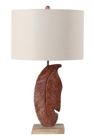 Carved Feather Table Lamp