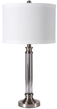 Tall Crystal and Iron Table Lamp