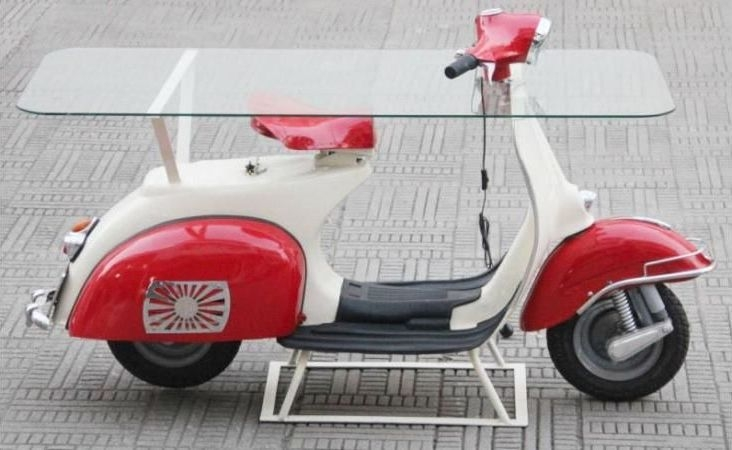 The Vespa Glass Top Hall Table - Red and White