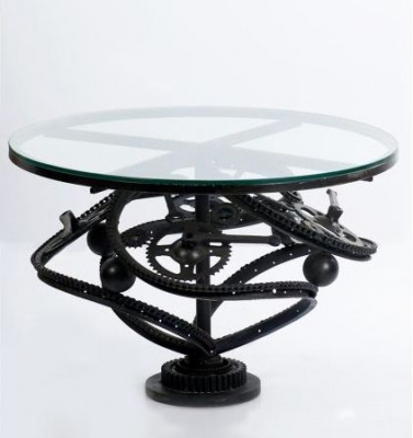 Reclaimed Bicycle Parts Glass Topped Coffee Table