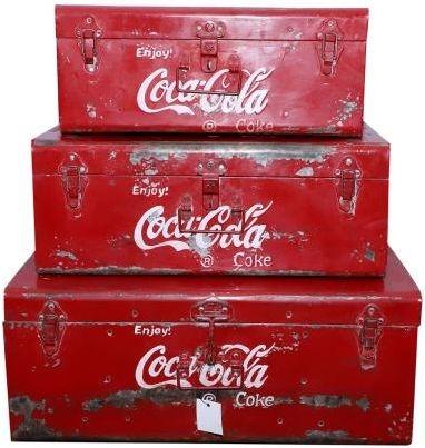 Set of 3 Metal Coca Cola Boxes