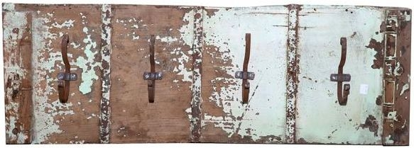 Upcycled Door Panel with 3 Coat Hooks