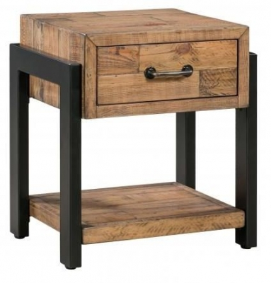 Urban Loft Reclaimed Pine Industrial 1 Drawer Lamp Table