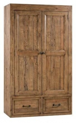 Urban Loft Reclaimed Pine Industrial 2 Door 1 Drawer Wardrobe