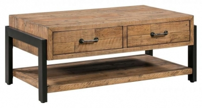 Urban Loft Reclaimed Pine Industrial 2 Drawer Coffee Table