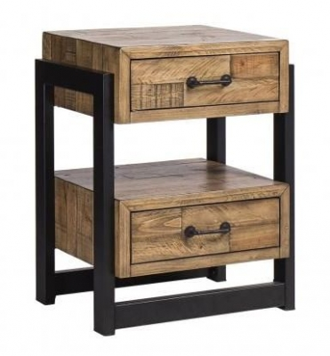 Urban Loft Reclaimed Pine Industrial 2 Drawer Nightstand