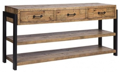 Urban Loft Reclaimed Pine Industrial 3 Drawer Buffet