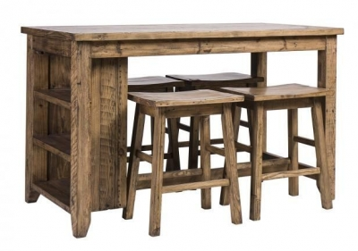 Urban Loft Reclaimed Pine Industrial Counter Table with 4 Stool