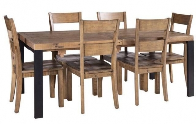 Urban Loft Reclaimed Pine Industrial Extending Dining Table and 6 Chairs