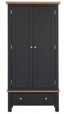 Vancouver Compact 2 Door 1 Drawer Wardrobe - Oak and Black Grey