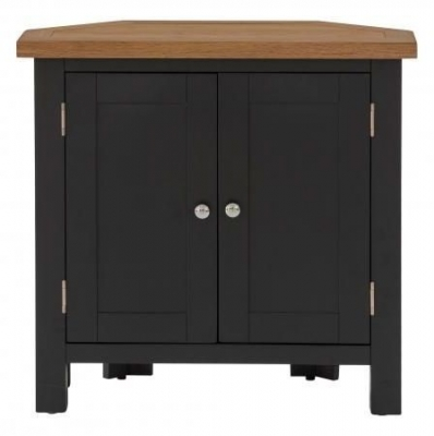 Vancouver Compact 2 Door Corner Cupboard - Oak and Black Grey