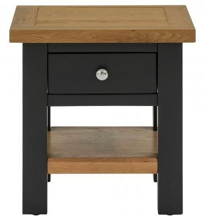 Vancouver Compact 1 Drawer Side Cabinet - Oak and Black Grey