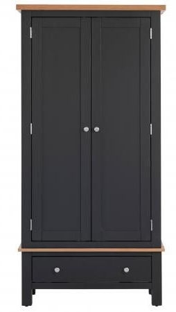 Vancouver Compact 2 Door 1 Drawer Wardrobe - Oak and Black Grey