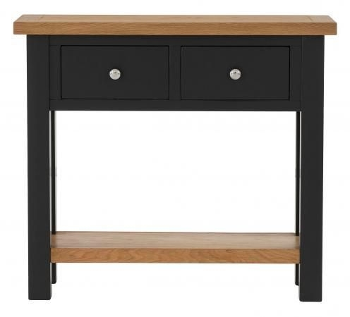 Vancouver Compact 2 Drawer Console Table - Oak and Black Grey