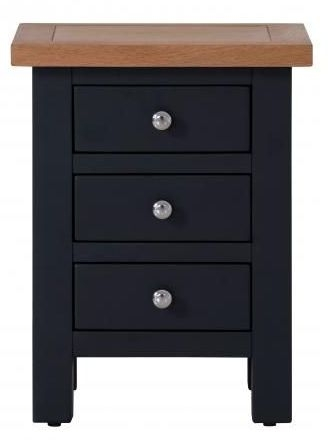 Vancouver Compact 3 Drawer Bedside Cabinet - Oak and Black Grey