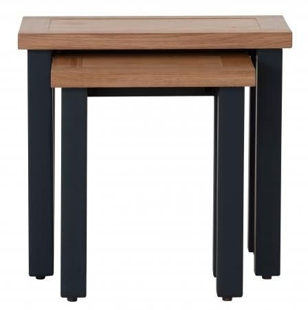 Vancouver Compact Nest of 2 Tables - Oak and Black Grey