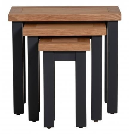 Vancouver Compact Nest of 3 Tables - Oak and Black Grey