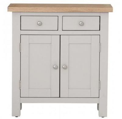Vancouver Compact 2 Door 2 Drawer Small Sideboard - Oak and Light Grey