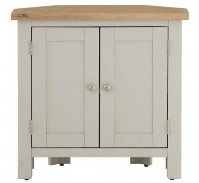 Vancouver Compact 2 Door Corner Cupboard - Oak and Light Grey