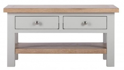 Vancouver Compact 2 Drawer Coffee Table - Oak and Light Grey